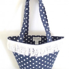 NAVY SPOT BAG WITH WHITE CUT FRINGE