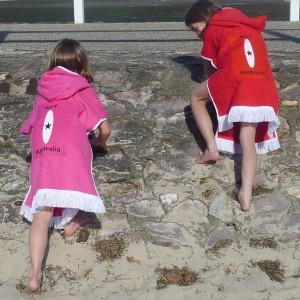 Wht surf on pink & red surf backs